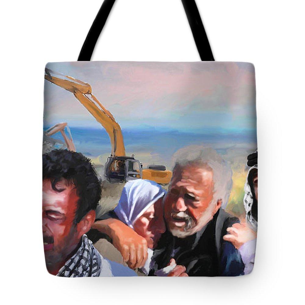 Palestine Jerusalem Tote Bag featuring the digital art Palatine Home Demolition by Fadel Ayoub