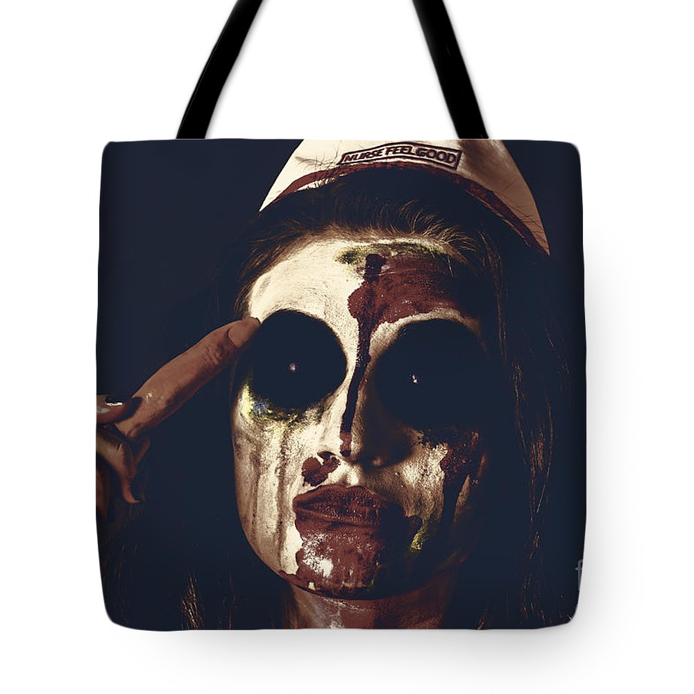 Zombie Tote Bag featuring the photograph Pale Ghost With Black Eyes Thinking Up Bad Idea by Jorgo Photography - Wall Art Gallery