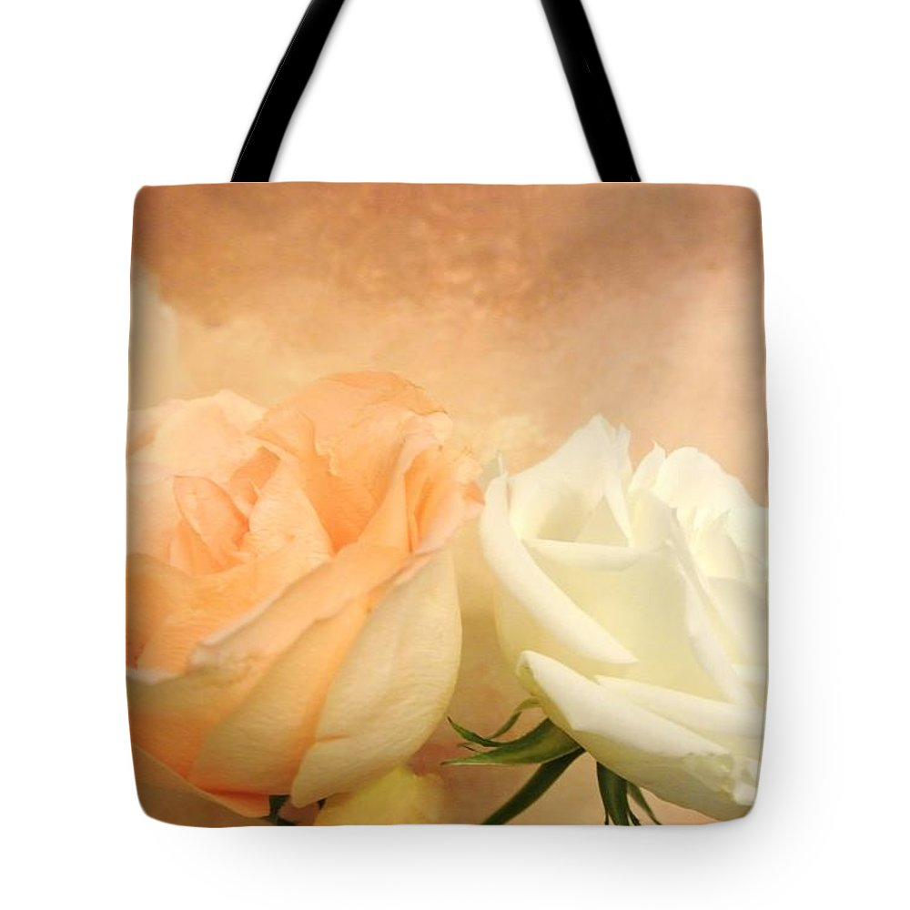 Photo Tote Bag featuring the painting Pale Peach And White Roses by Marsha Heiken