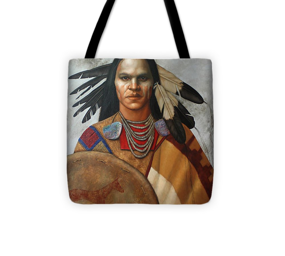 American Indian Tote Bag featuring the painting Pale Rider By K Henderson by K Henderson