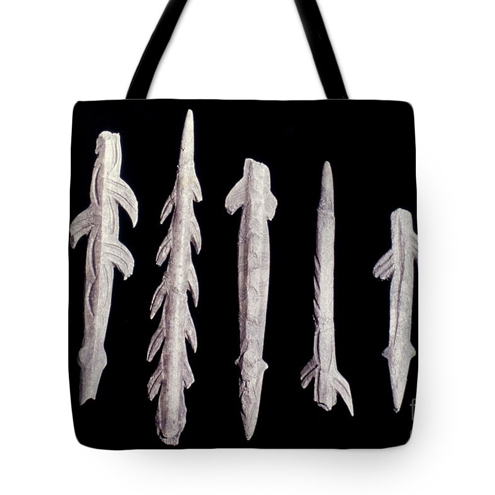 9000 B.c. Tote Bag featuring the photograph Paleolithic Harpoons by Granger
