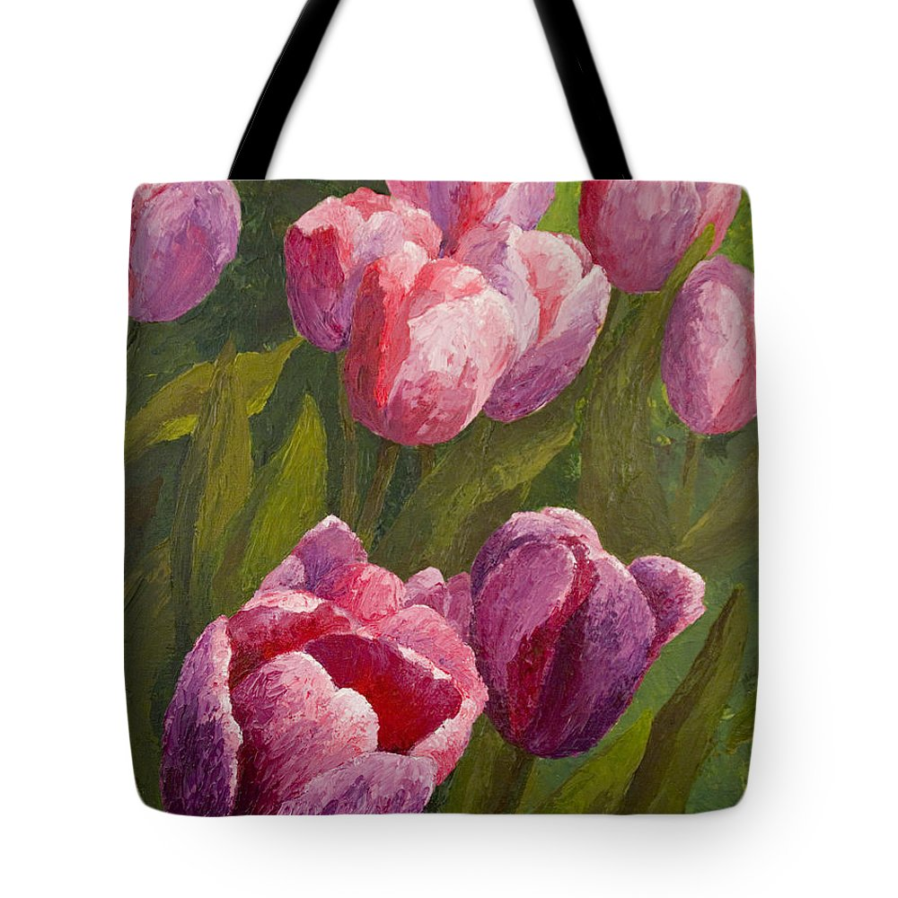 Tulips Tote Bag featuring the painting Palette Tulips by Phyllis Howard