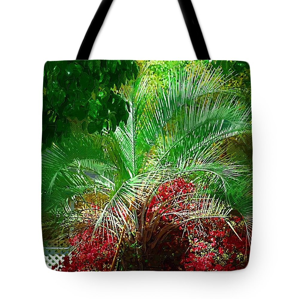 Palms Tote Bag featuring the photograph Palm And Azaleas by Donna Bentley