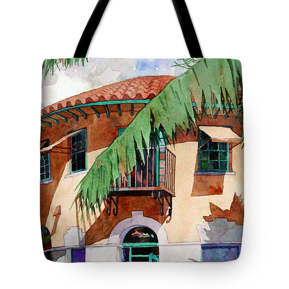 Watercolor Tote Bag featuring the painting Palm And Deco by Mick Williams