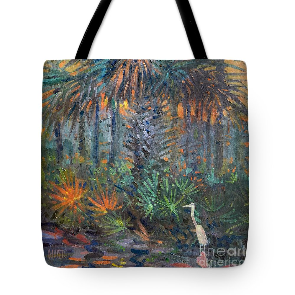 Egret Tote Bag featuring the painting Palm and Egret by Donald Maier