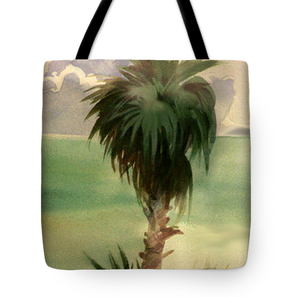 Palm Tote Bag featuring the painting Palm At Horseshoe Cove by Neal Smith-Willow