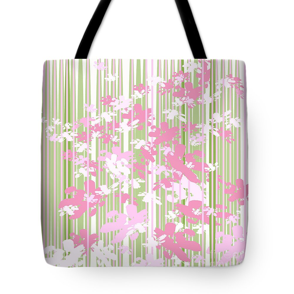 Pink Green Floral Flowers Modern Modernist Landscape Greenery Daisies Tote Bag featuring the digital art Palm Beach Floral II by Pamela Johnson Design