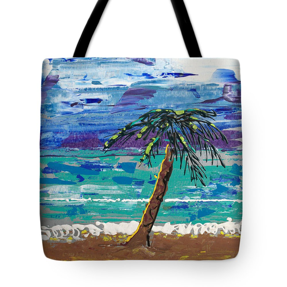 Palm Tree Tote Bag featuring the painting Palm Beach by J R Seymour