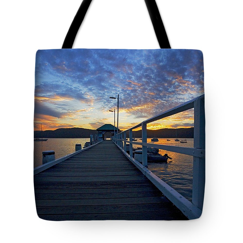 Palm Beach Sydney Wharf Sunset Dusk Water Pittwater Tote Bag featuring the photograph Palm Beach Wharf At Dusk by Sheila Smart Fine Art Photography