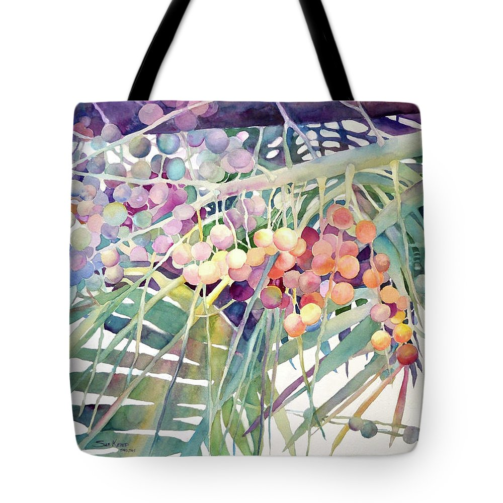 Palm Tote Bag featuring the painting Palm Patterns by Sue Kemp