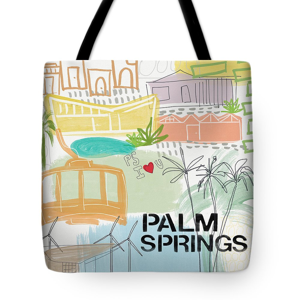 Palm Springs California Tote Bag featuring the painting Palm Springs Cityscape- Art by Linda Woods by Linda Woods