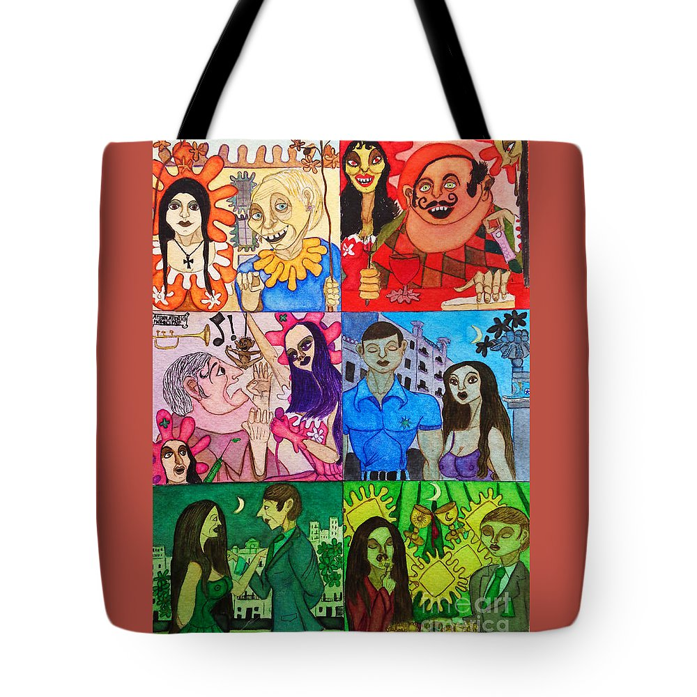 Vignetes Tote Bag featuring the painting Palm Sunday Vignetes by Don Pedro DE GRACIA