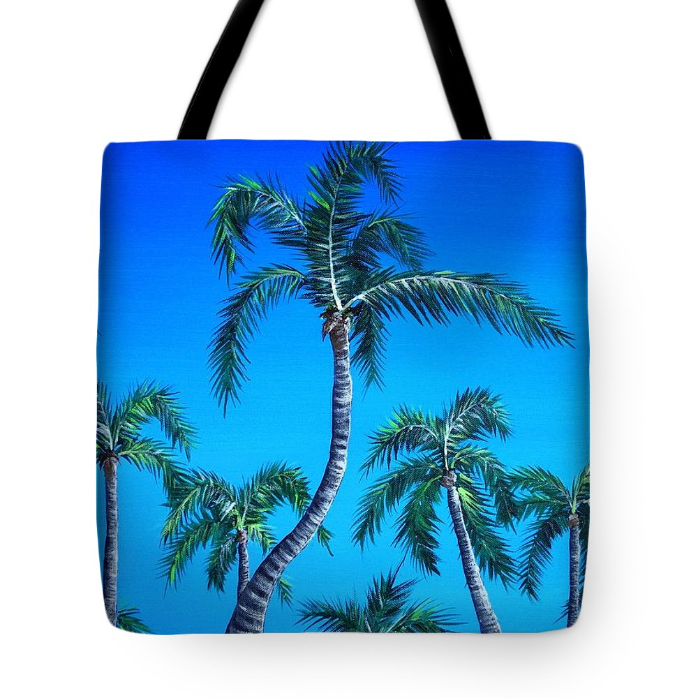 Palm Tote Bag featuring the painting Palm Tops by Anastasiya Malakhova