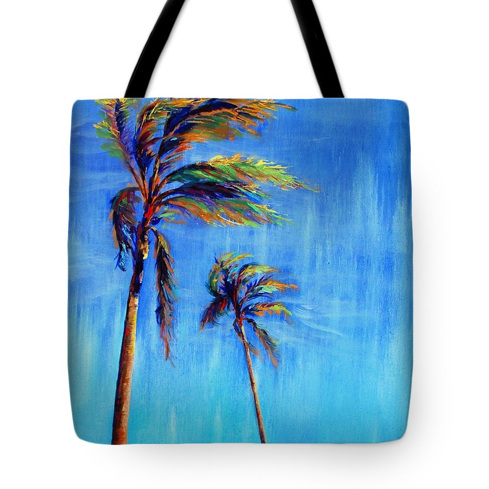 Landscape Tote Bag featuring the painting Palmas Viento by Lynee Sapere