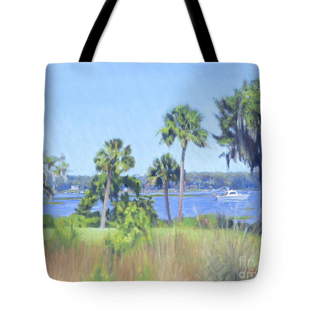 Palmetto Bluff Tote Bag featuring the painting Palmetto Bluff Backyard by Candace Lovely