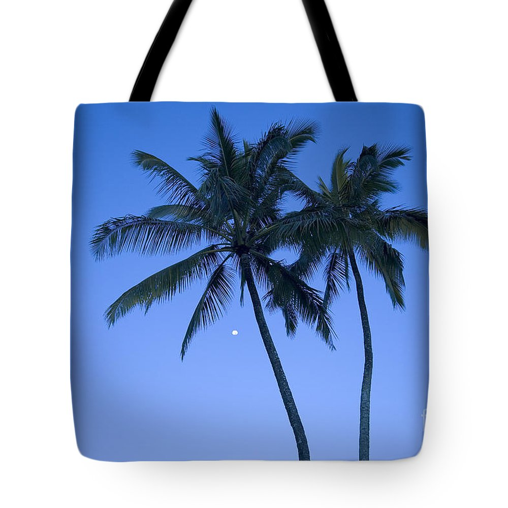 Afternoon Tote Bag featuring the photograph Palms And Blue Sky by Ron Dahlquist - Printscapes