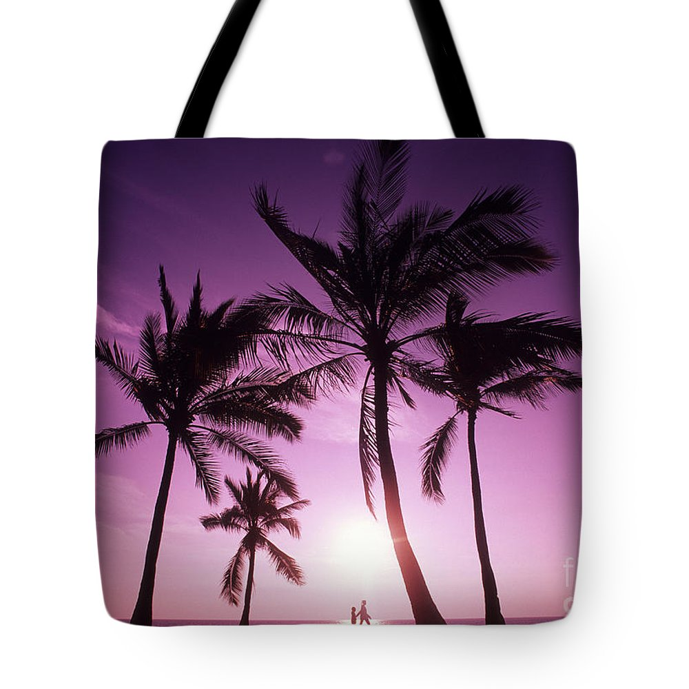 Adult Tote Bag featuring the photograph Palms And Pink Sunset by Carl Shaneff - Printscapes