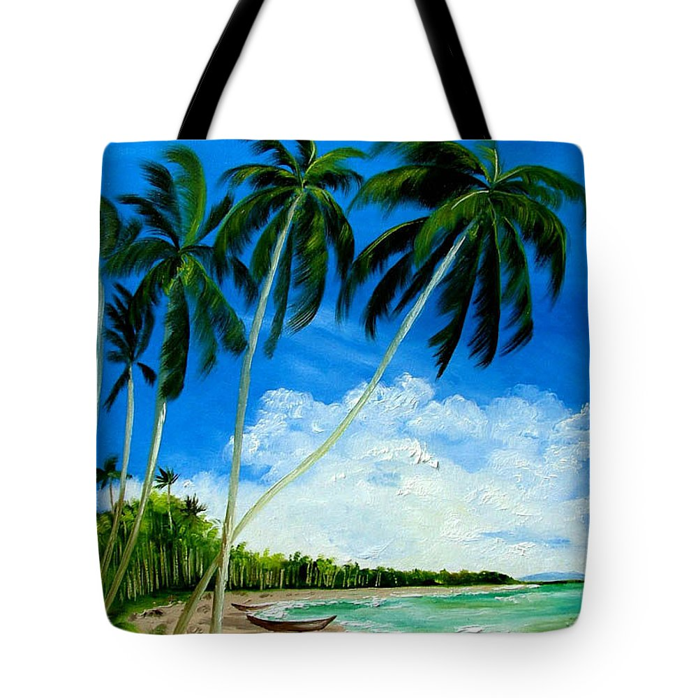 Palms Tote Bag featuring the painting Palms By The Ocean by Inna Montano