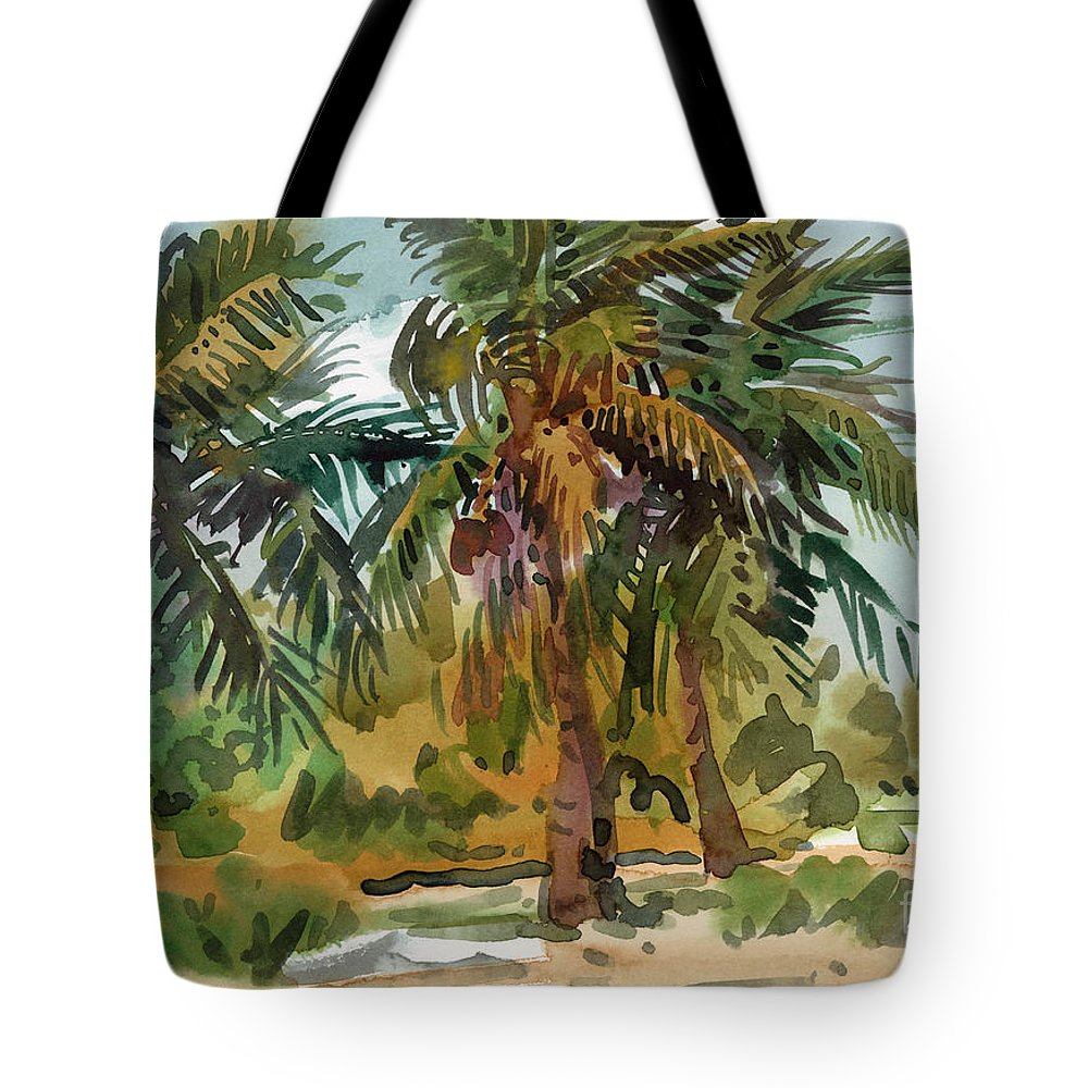 Palm Tree Tote Bag featuring the painting Palms In Key West by Donald Maier