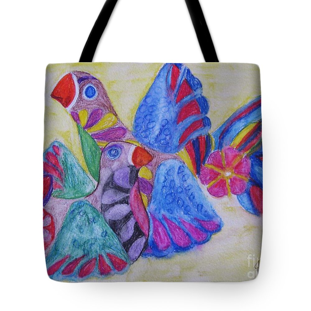 Bright Colors Tote Bag featuring the painting Palomas - Gifted by Judith Espinoza