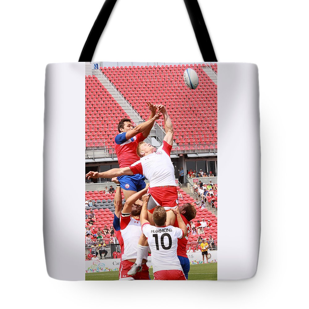 Rugby Tote Bag featuring the photograph Pamam Games Men's Rugby 7's by Hugh McClean