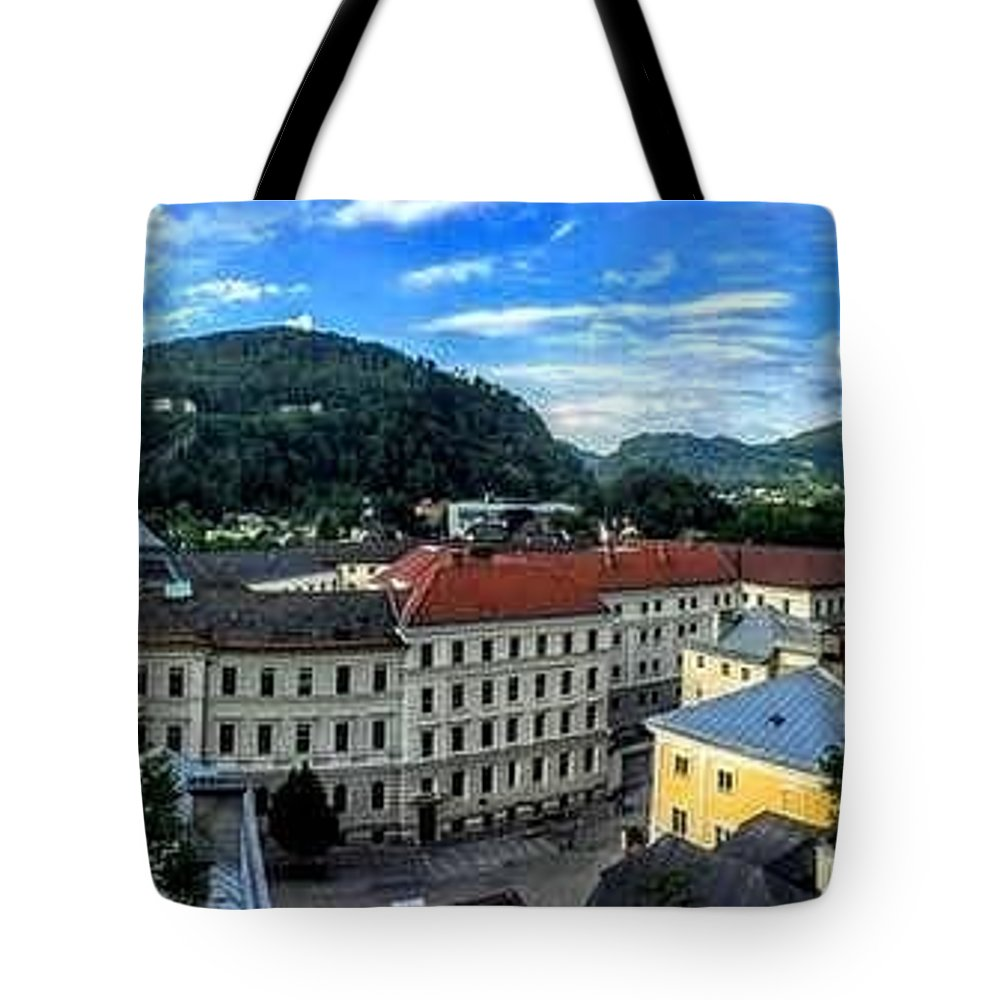 Tote Bag featuring the photograph Pamramic Of Salzburg by Hannah Tucker