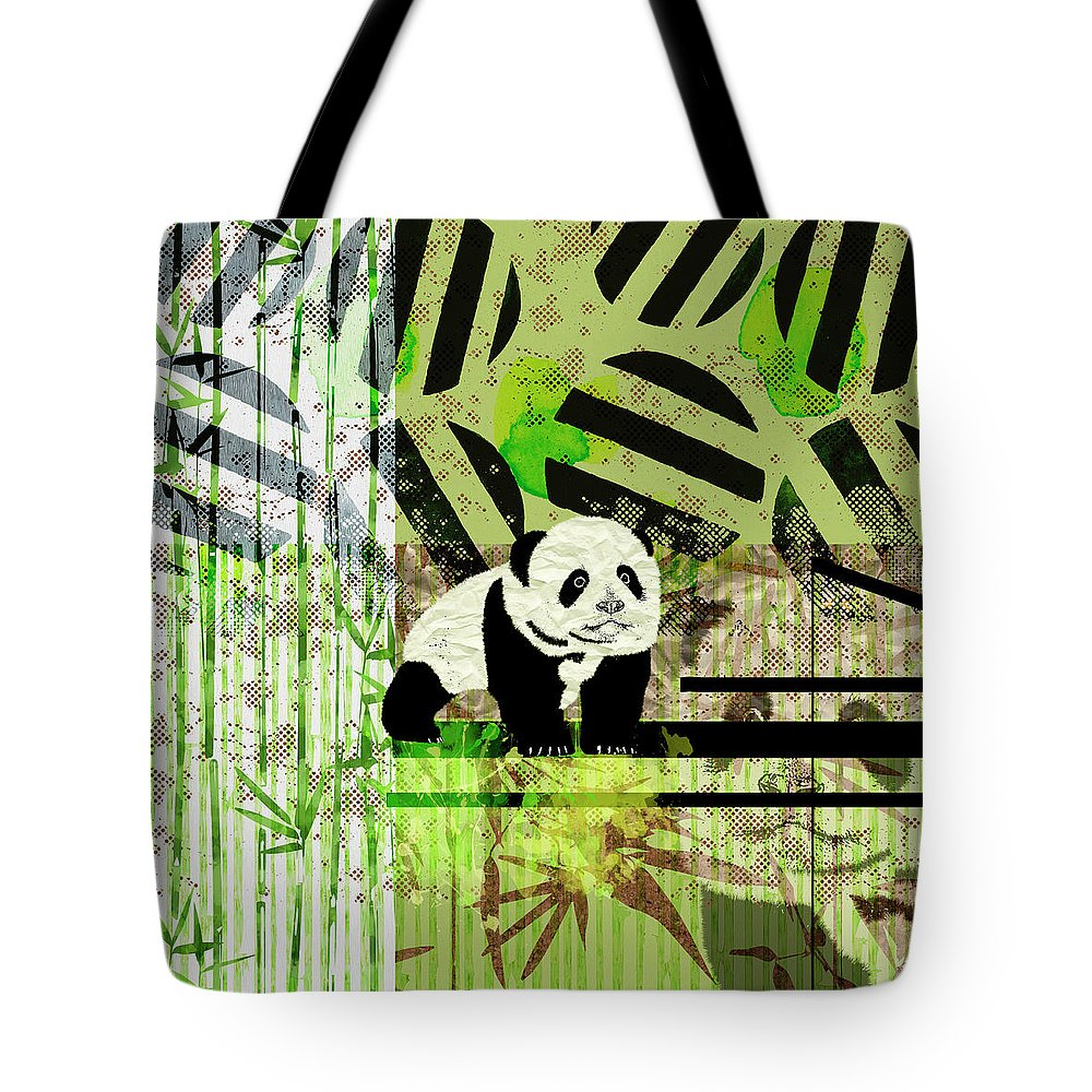 44dc26ff4 Panda Cub Abstract Mixed Media Digital Art Collage Tote Bag for Sale by  Creativemotions