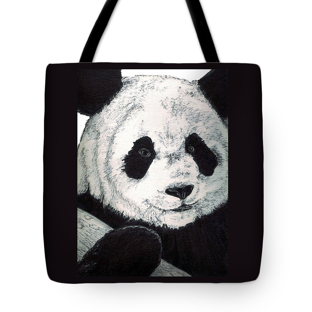 Panda Tote Bag featuring the painting Panda by Debra Sandstrom