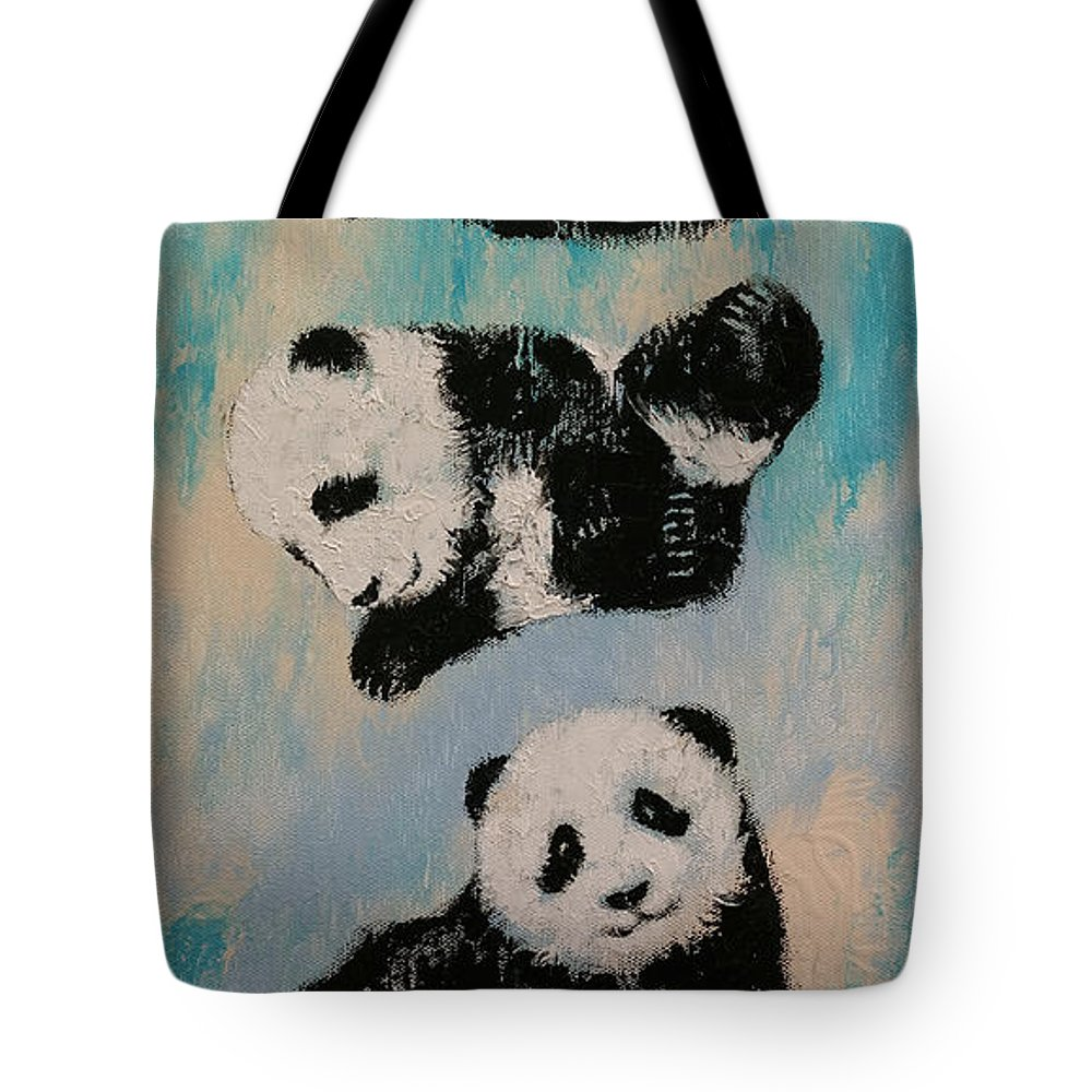 Children Tote Bag featuring the painting Panda Karate by Michael Creese