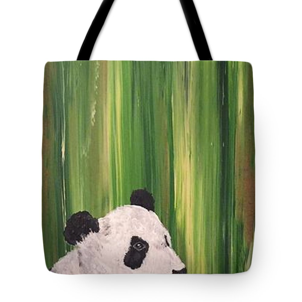 Panda Tote Bag featuring the mixed media Pandas Fading by Corella Fairchild