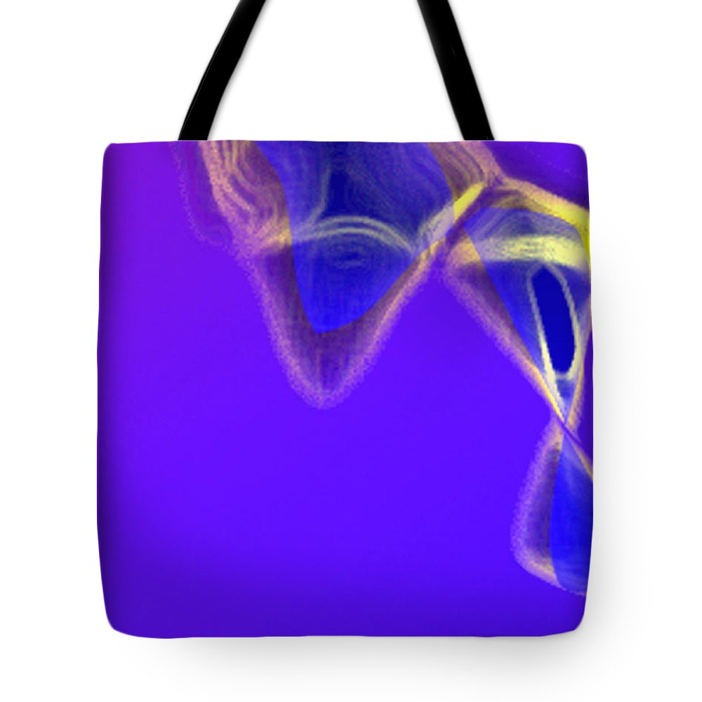Abstract Tote Bag featuring the digital art Panel One From Movement In Blue by Steve Karol