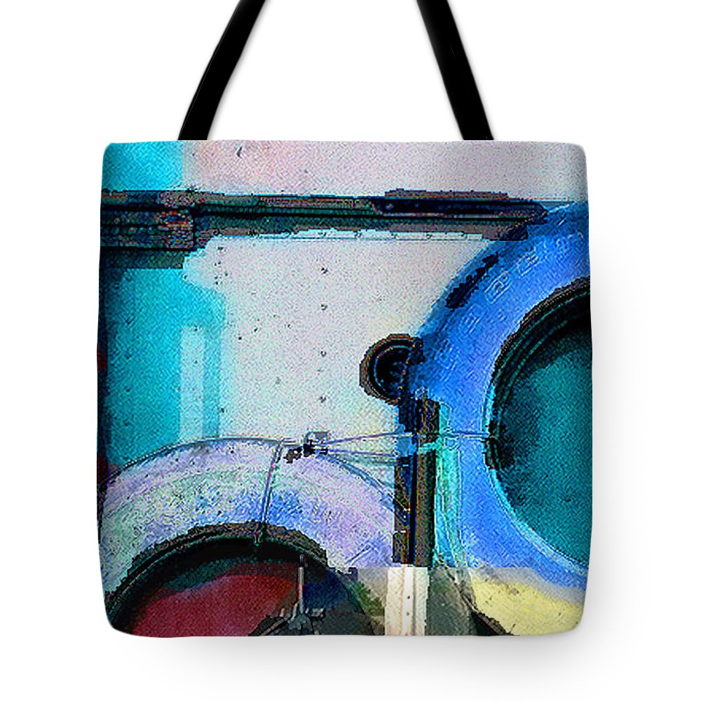 Abstract Tote Bag featuring the photograph panel three from Centrifuge by Steve Karol