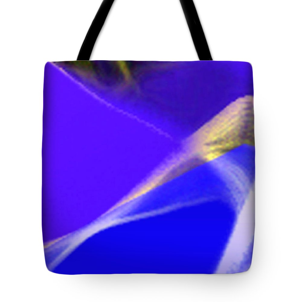 Abstract Tote Bag featuring the digital art panel three from Movement in Blue by Steve Karol