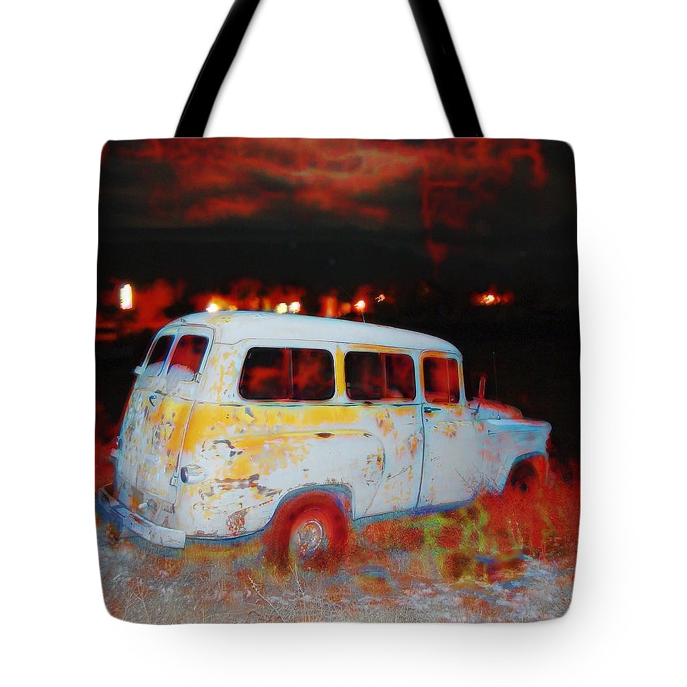 Tote Bag featuring the digital art Panel Truck by Cathy Anderson