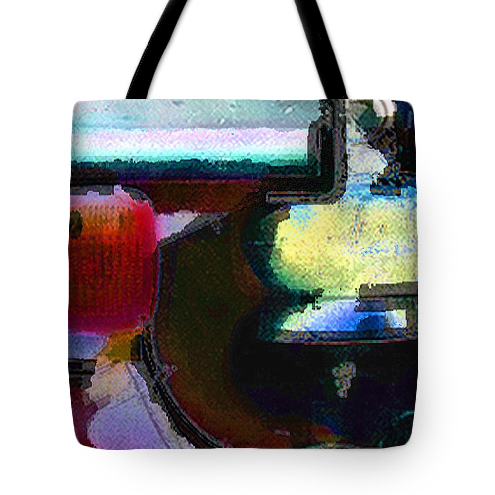 Abstract Tote Bag featuring the photograph panel two from Centrifuge by Steve Karol