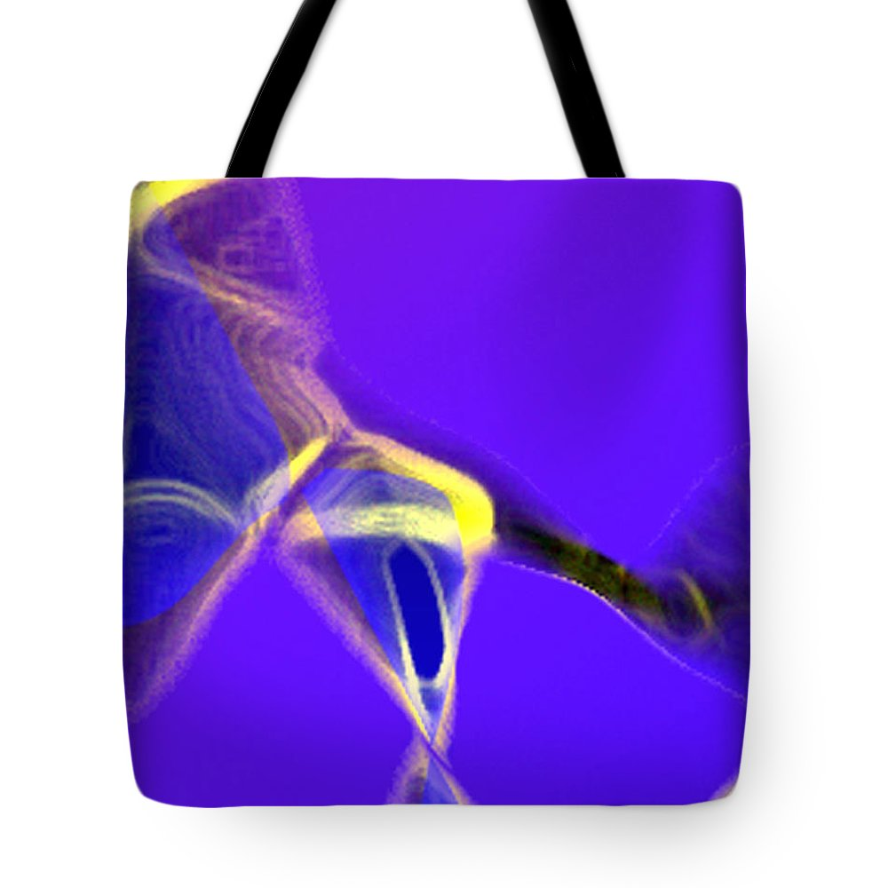 Abstract Tote Bag featuring the digital art panel two from Movement in Blue by Steve Karol