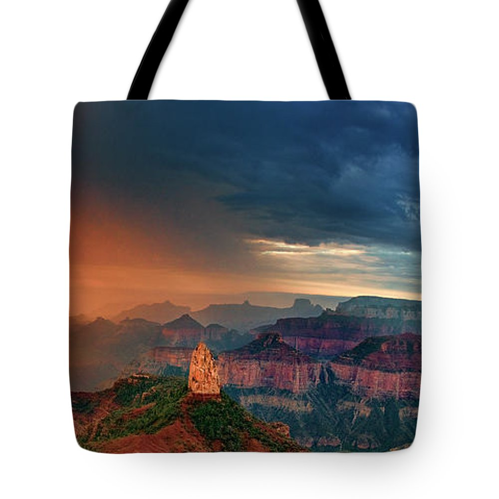 North America Tote Bag featuring the photograph Panorama North Rim Grand Canyon Arizona by Dave Welling