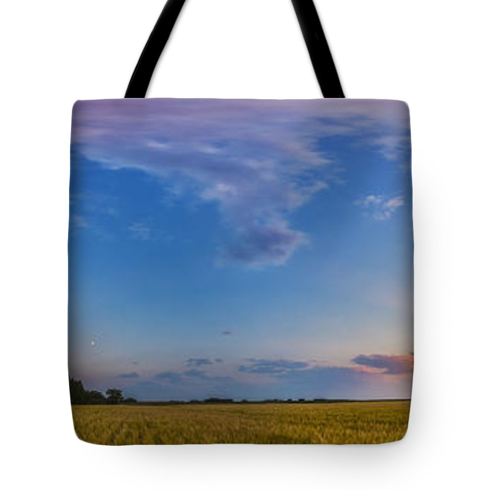 Alberta Tote Bag featuring the photograph Panorama Of A Colorful Sunset by Alan Dyer