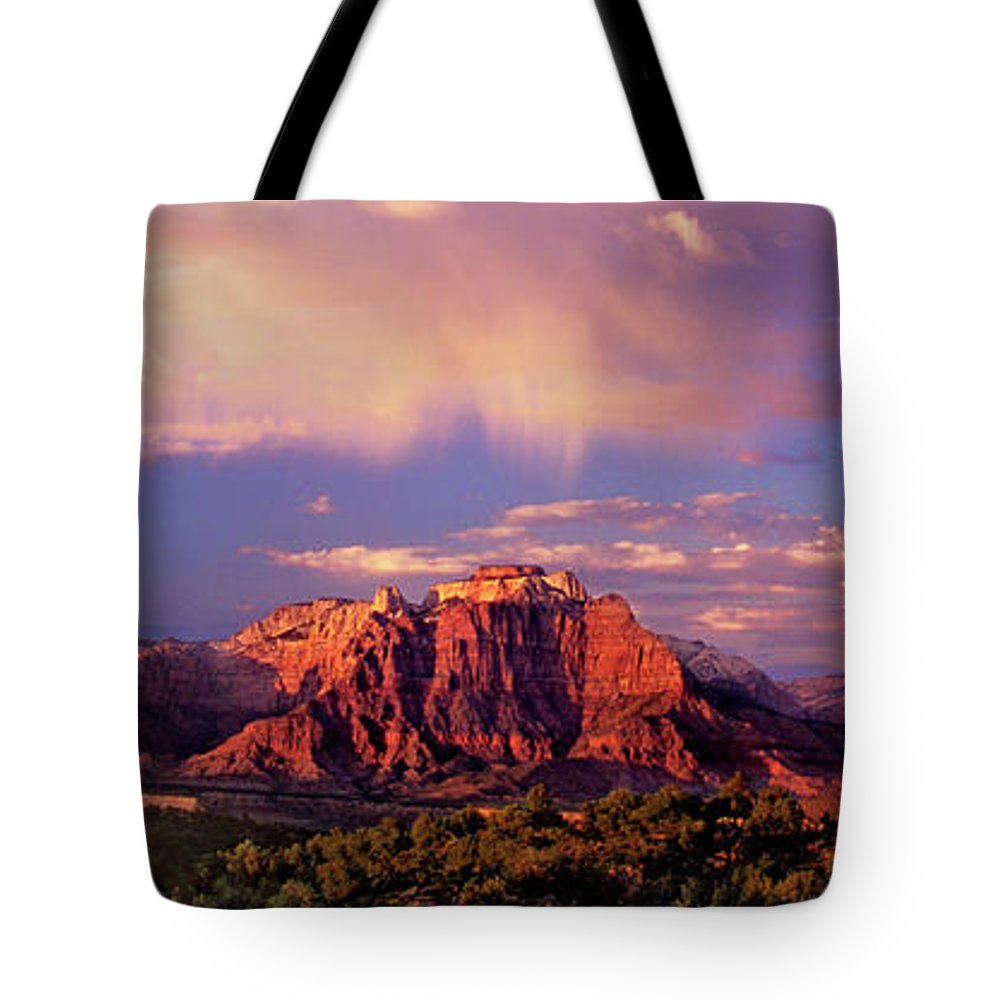 North America Tote Bag featuring the photograph Panorama West Temple At Sunset Zion Natonal Park by Dave Welling