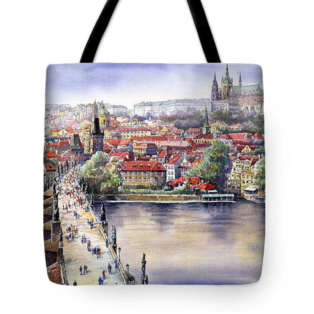 Watercolour Tote Bag featuring the painting Panorama With Vltava River Charles Bridge And Prague Castle St Vit by Yuriy Shevchuk