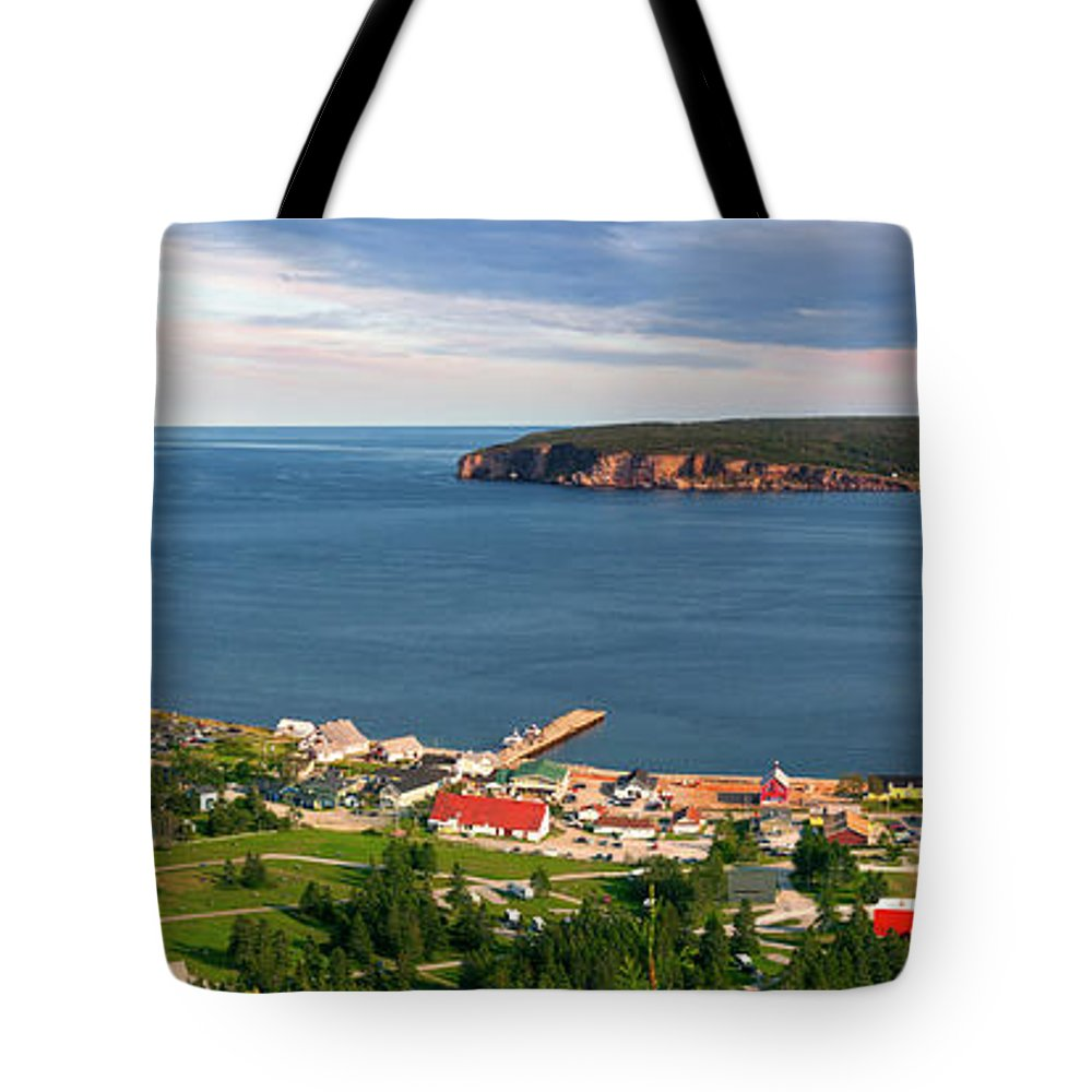 Perce Tote Bag featuring the photograph Panoramic View In Perce Quebec by Elena Elisseeva