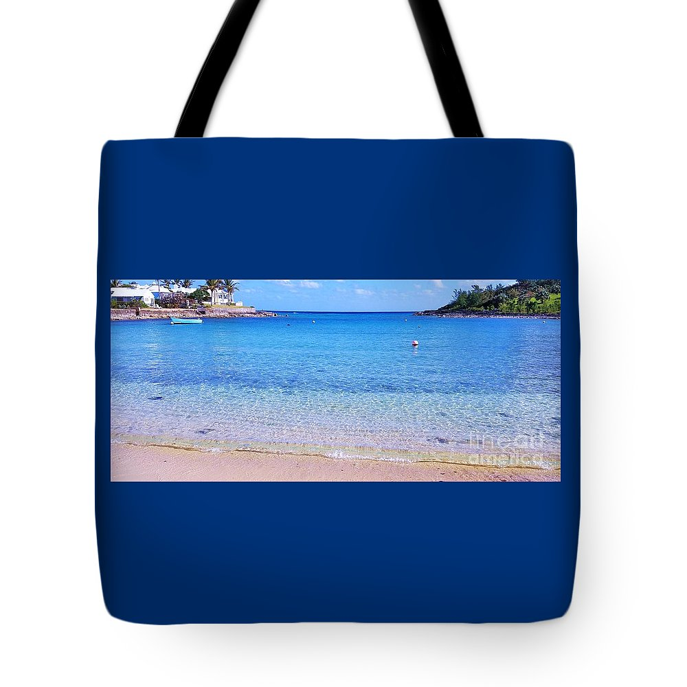 Panoramic Art Devonshire Bay Bermuda Art Scenery Atlantic Ocean Serenity Meditation Seascape Houses Outdoors Beach Trees Tranquility Travel Gentle Waves Canvas Print Wood Print Metal Frame Poster Print Available On T Shirts Tote Bags Mugs Pouches Shower Curtains Weekender Tote Bags Beach Towels Yoga Mats And Phone Cases Tote Bag featuring the photograph Panoramic Vision Of Devonshire Bay, Bermuda by Marcus Dagan