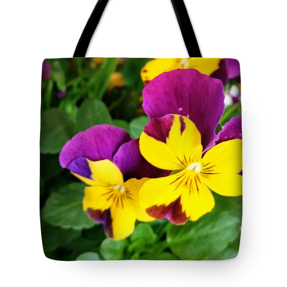 Pansies Tote Bag featuring the photograph Pansies 2 by Valerie Josi