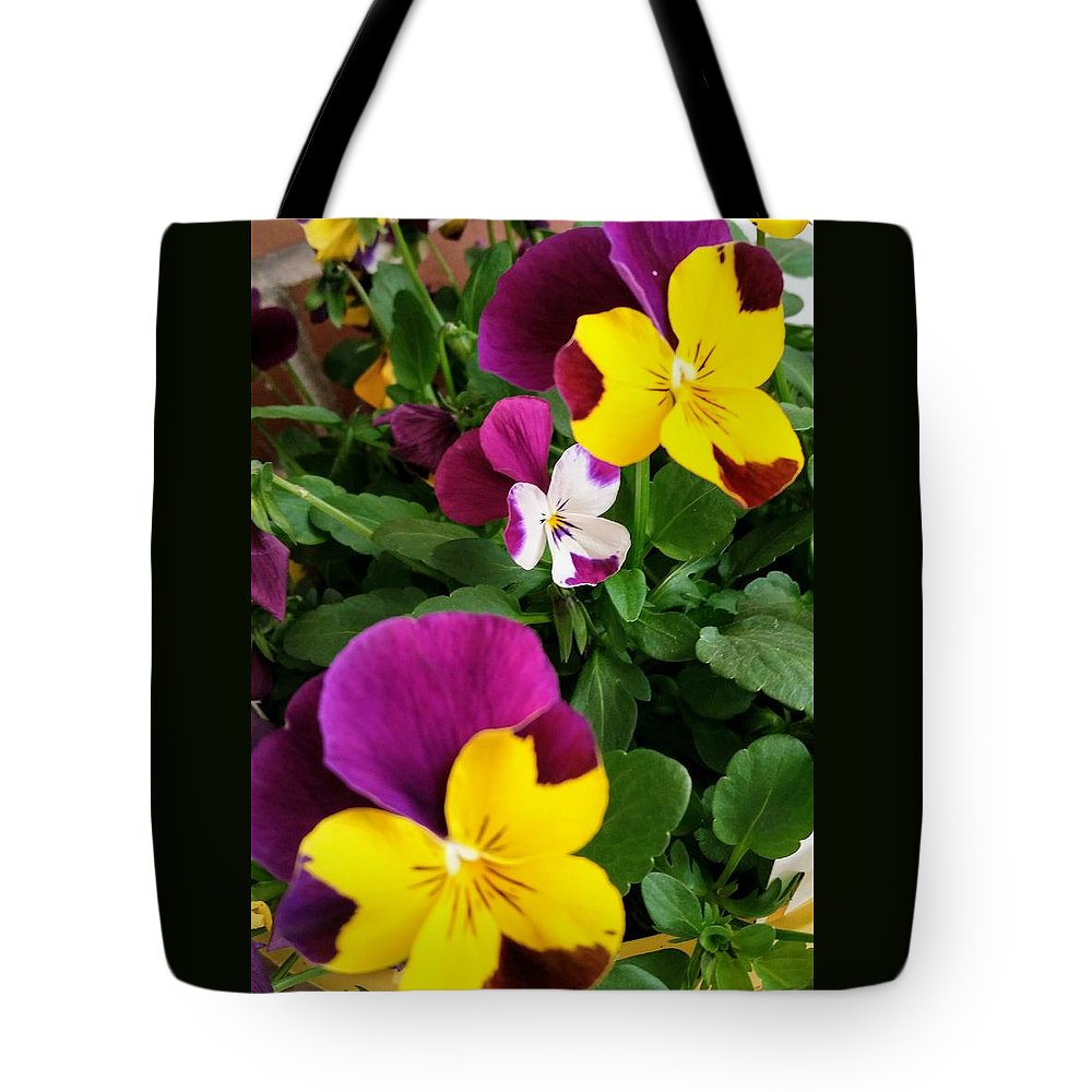 Pansies Tote Bag featuring the photograph Pansies 3 by Valerie Josi