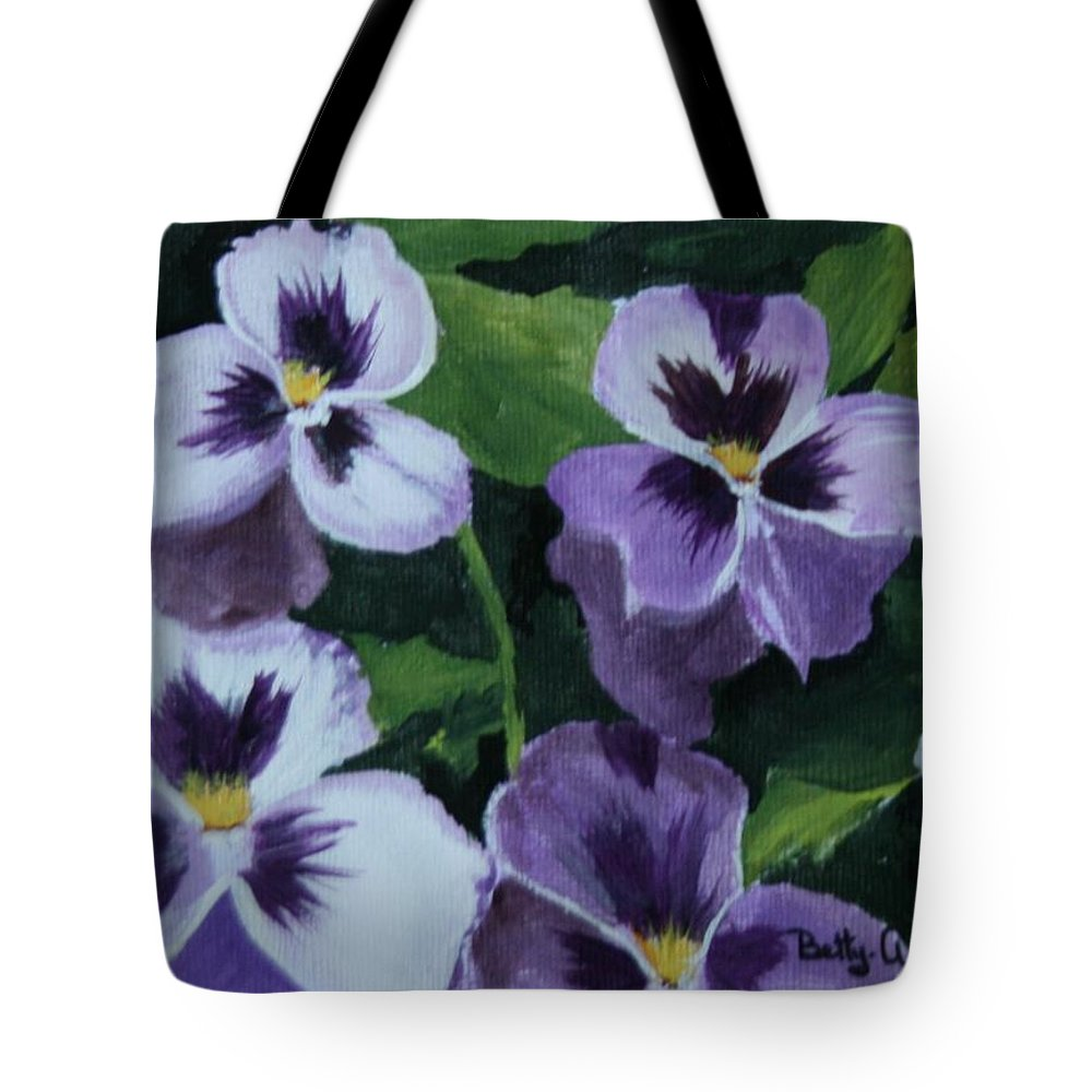 Pansies Tote Bag featuring the painting Pansies by Betty-Anne McDonald