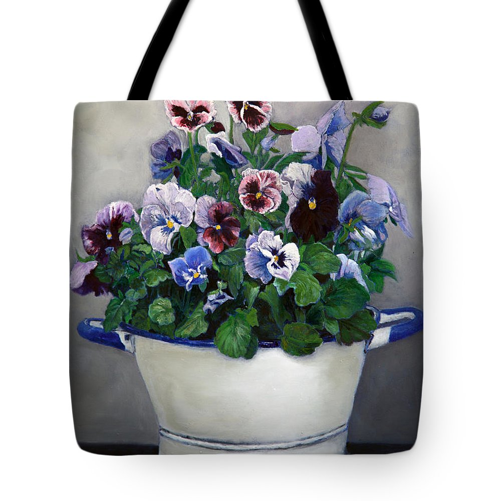 Painting Tote Bag featuring the painting Pansies by Portraits By NC