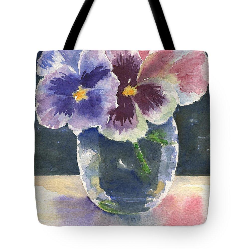 Pansies Tote Bag featuring the painting Pansies by Marsha Elliott