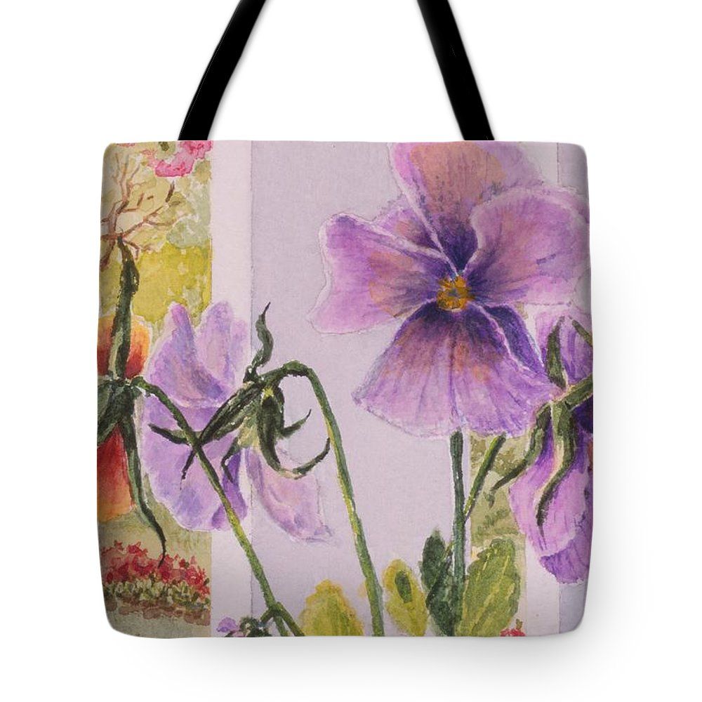 Florals Tote Bag featuring the painting Pansies On My Porch by Mary Ellen Mueller Legault