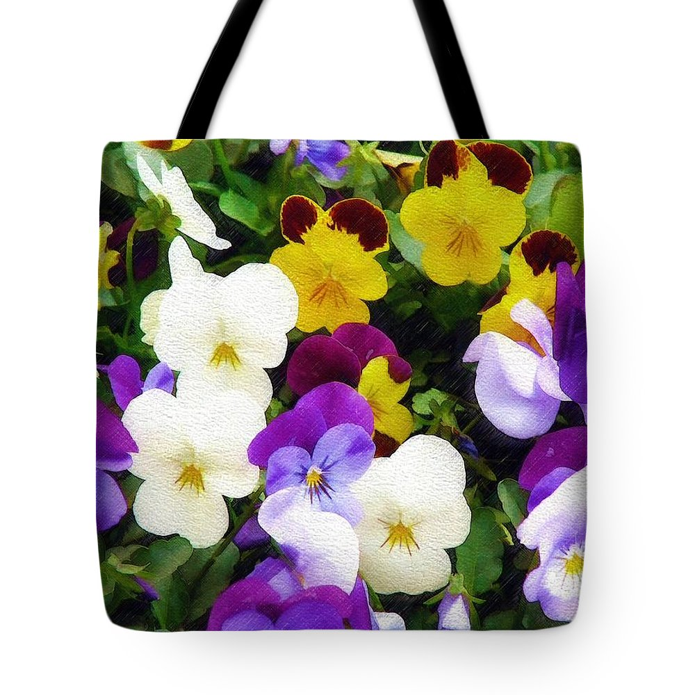 Pansies Tote Bag featuring the photograph Pansies by Sandy MacGowan