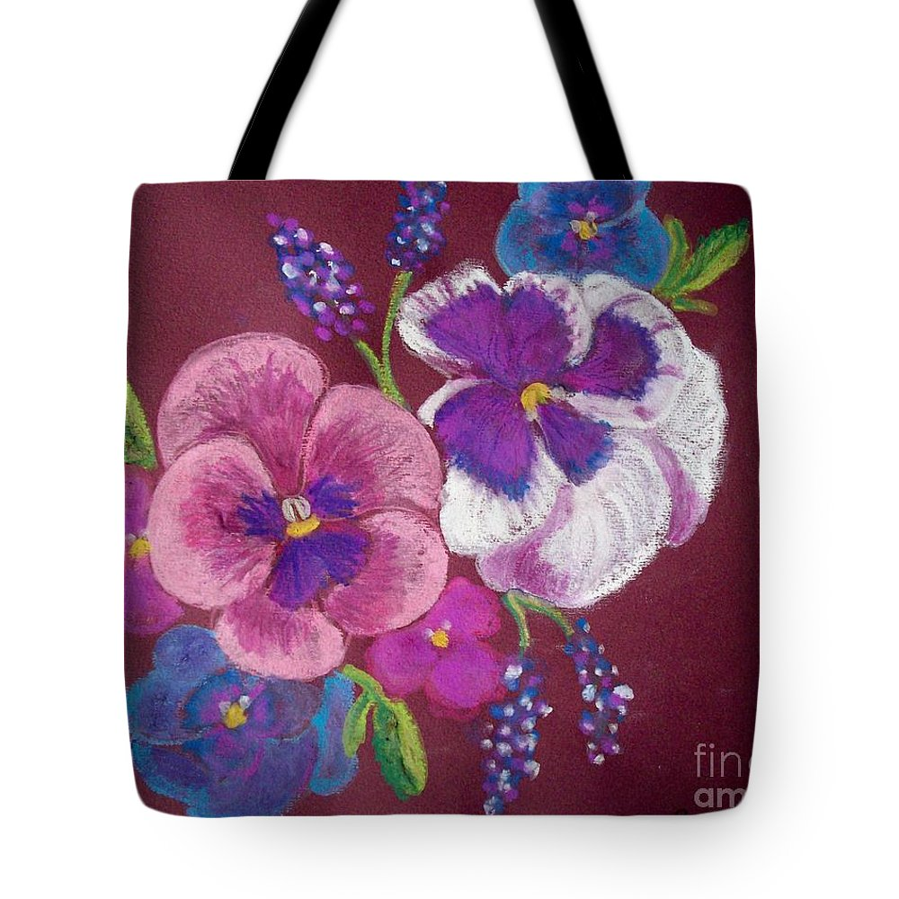 Florals Tote Bag featuring the pastel Pansy Grandeur by Sandra McClure
